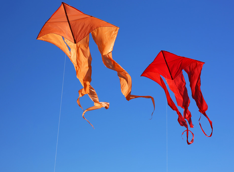 Two kites in a blue sky