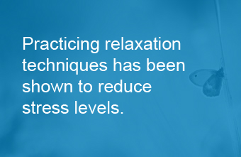 Image stating that relaxation helps stress